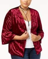 Monteau Trendy Plus Size Velvet Blazer
