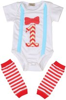 Lily.Pie Baby Boys Bowknot First Birthday Party Bodysuits Leg Warmers Outfits Set (12-18M, )