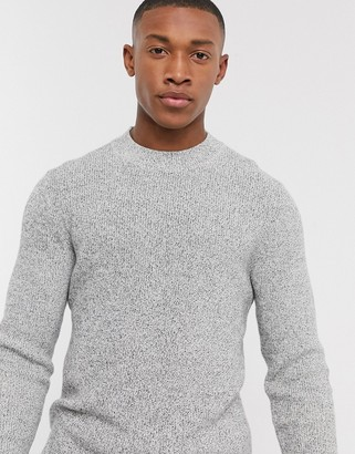 Selected organic cotton multi yarn crew neck knitted sweater in white