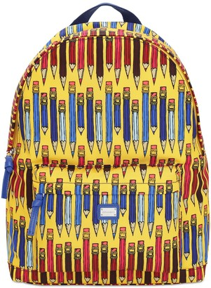 Dolce & Gabbana Pencils Nylon Canvas Backpack