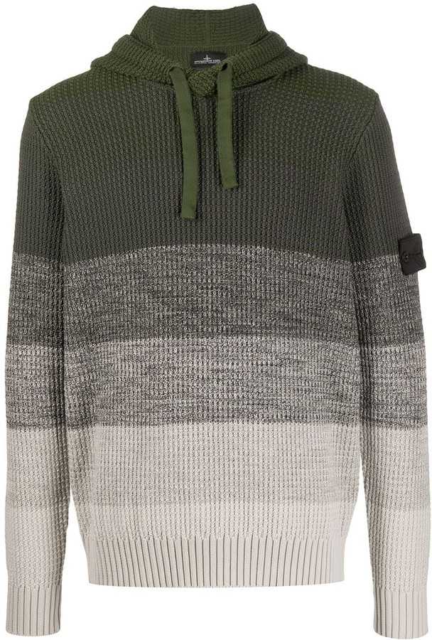 Stone Island Shadow Project Striped Knitted Hoodie