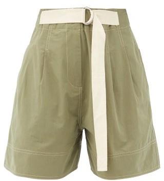 Lee Mathews Birder Pleated Cotton-poplin Shorts - Khaki