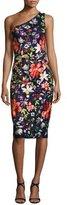 David Meister Floral One-Shoulder Sheath Dress, Multicolor