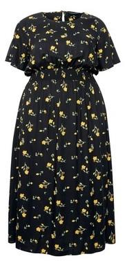 Dorothy Perkins Womens **Dp Curve Yellow Floral Print Midi Dress, Yellow