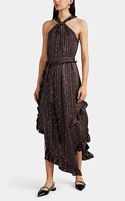 Derek Lam 10 Crosby Women's Striped Floral Crepe Halter Dress - Black