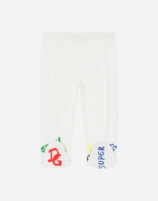 Dolce & Gabbana Love-Print Chenille Pants With Feet