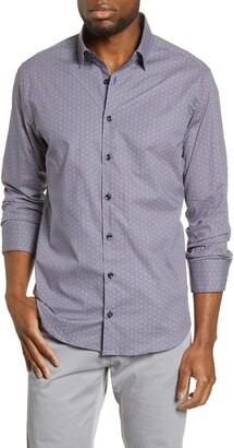 Stone Rose Geo Print Button-Up Shirt