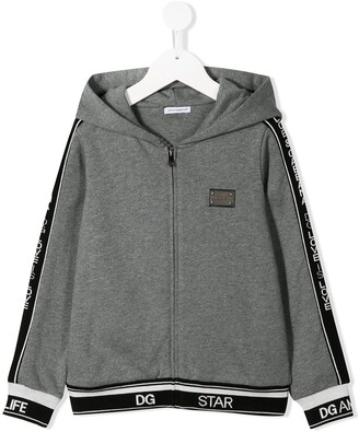 Dolce & Gabbana Logo Band Zip-Up Hoodie