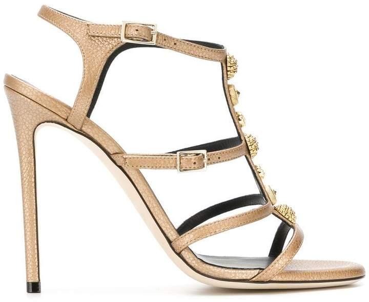 Grey Mer open toe buckle sandals