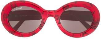 Balenciaga Eyewear Paris print round-frame sunglasses