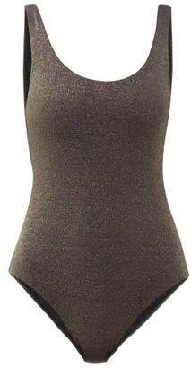 My Beachy Side - Yuz Scoop-neck Metallic Swimsuit - Womens - Black