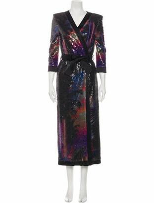 Balmain Printed Long Dress Black