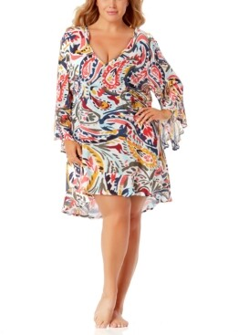 Anne Cole Printed Flounce-Hem Tunic Cover-Up Women's Swimsuit