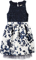 Speechless Sequined Lace & Floral-Print Dress, Toddler & Little Girls (2T-6X)