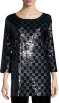 Joan Vass 3/4-Sleeve Square Sequined Tunic, Petite