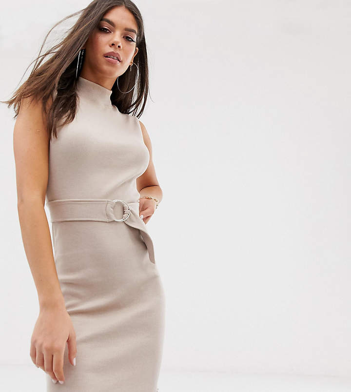 Missguided Tall ribbed mini dress with high neck in sand