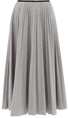 Moncler High-waist Pleated-jersey Midi Skirt - Grey
