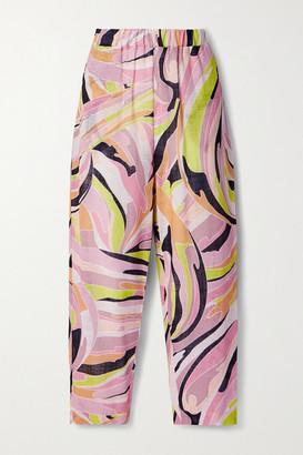 Emilio Pucci Printed Cotton-gauze Straight-leg Pants - Baby pink
