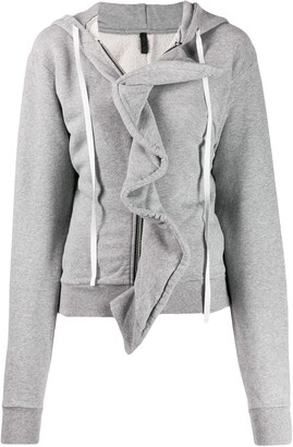 Unravel Project Ruffle Trim Hoodie