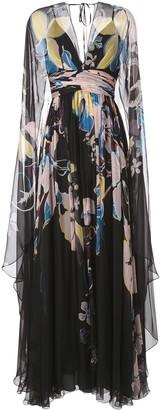 ZUHAIR MURAD Floral Print Cape Gown