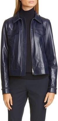 Lafayette 148 New York Destiny Braid Trim Leather Jacket