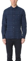 Todd Snyder Long Sleeve Linen Indigo Check Shirt