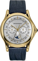 Emporio Armani Men's Swiss Classic Blue Leather Strap Watch 44mm ARS4204