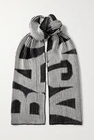 Thumbnail for your product : Balenciaga Intarsia Ribbed Wool Scarf - Black