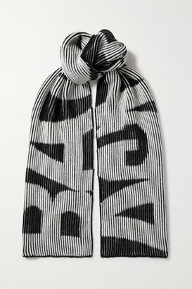 Balenciaga Intarsia Ribbed Wool Scarf - Black