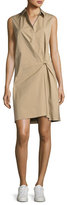 Theory Lenmana Stretch-Cotton Sleeveless Shirtdress, Beige