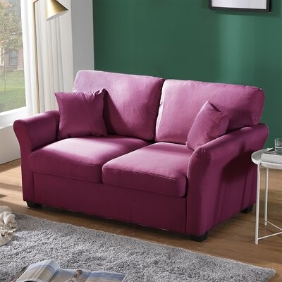 """Thumbnail for your product : Winston Porter Marumsco 62.2"""" Flared Arm Loveseat Fabric: Purple Linen Blend"""