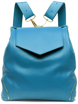 Holly & Tanager The Professional Leather Backpack Purse In Blue