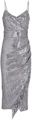 Saylor Azariah Fringed Sequin Wrap Dress