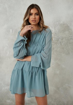 Missguided Blue Ruched Sleeve Mesh Smock Dress