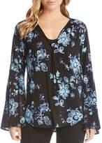 Karen Kane Embroidered Bell-Sleeve Top