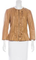 Tory Burch Ruffle-Accented Leather Jacket