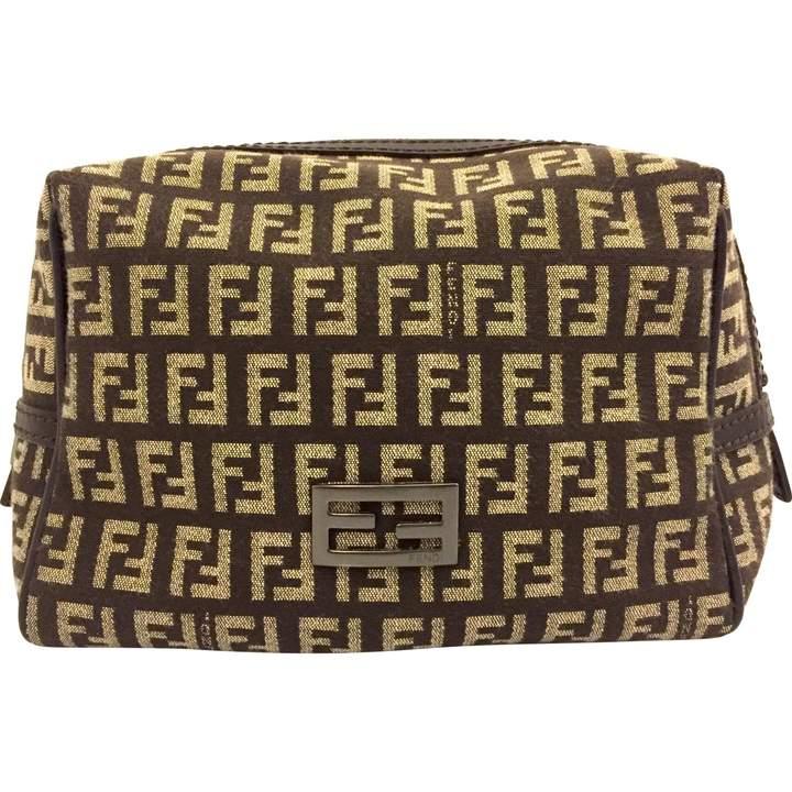 Fendi Camel Cloth Clutch Bag