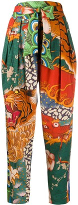 DSQUARED2 Dragon Print Tapered Trousers