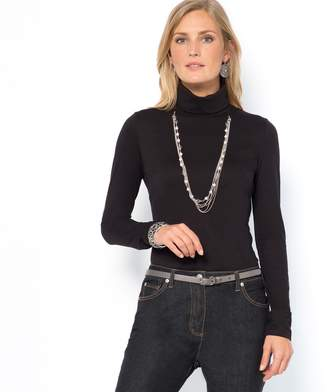 Anne Weyburn Roll Neck T-Shirt with Long Sleeves