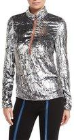 Emilio Pucci Metallic Half-Zip Pullover Sweater, Argent