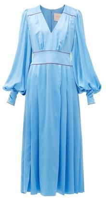 Roksanda Teruko Pleated Silk-charmeuse Midi Dress - Blue
