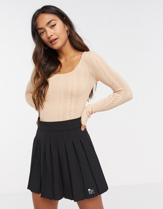 Brave Soul square neck pointelle knit top in pink