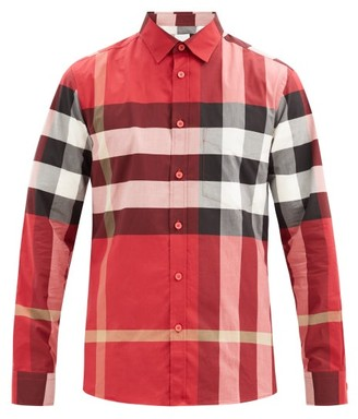 Burberry Somerton Nova-check Cotton-blend Poplin Shirt - Red Multi