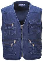Feicuan Men's Multi Pockets Denim Vest Photo Journalist's Vest