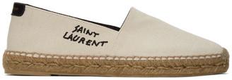 Saint Laurent Off-White Embroidered Espadrilles