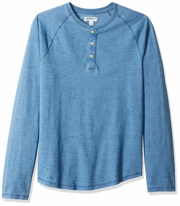 Brand Goodthreads Mens Long-sleeve Indigo Henley Shirt