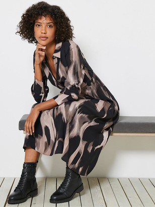 Mint Velvet Nova Print Twist Front Assymetric Shirt Dress