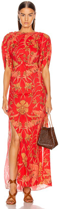 Johanna Ortiz Botanical Study Maxi Dress in Imperial Red & Camel | FWRD