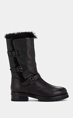 Sartore Women's Fur-Lined Leather Ankle Boots - Black