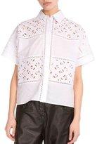 Kenzo Flying Lace & Poplin Blouse, White